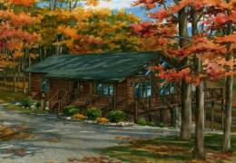 Watercolor-custom-portrait-of-Virginia-log-cabin-copyright-2010-Richelle-Flecke