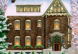 Watercolor-of-Christmas-Tudor-home-c-2012-Richelle-Flecke