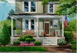 Watercolor-of-Illinois-home-c-2012-Richelle-Flecke