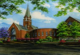 Watercolor-portrait-ofSt-Johns-Lutheran-Church-in-Arnold-copyright-2012-Richelle-Flecke