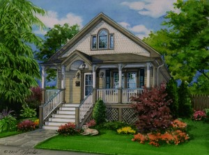 Watercolor house portrait of Oak Lawn residence