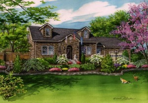 Watercolor house portrait of Alabama home with military flags