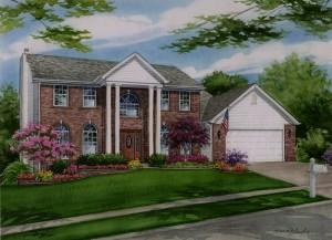 Watercolor custom house portrait of Oakville home