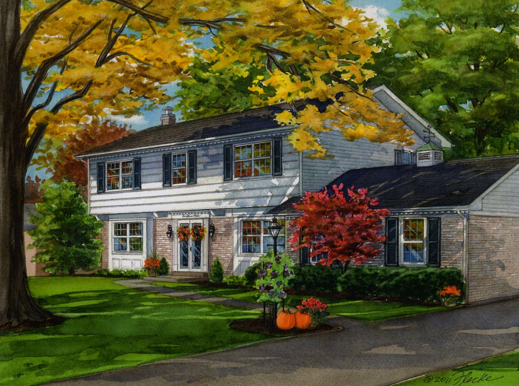 Charming Home in Fall Season   Custom House Portraits by ... - photo#1