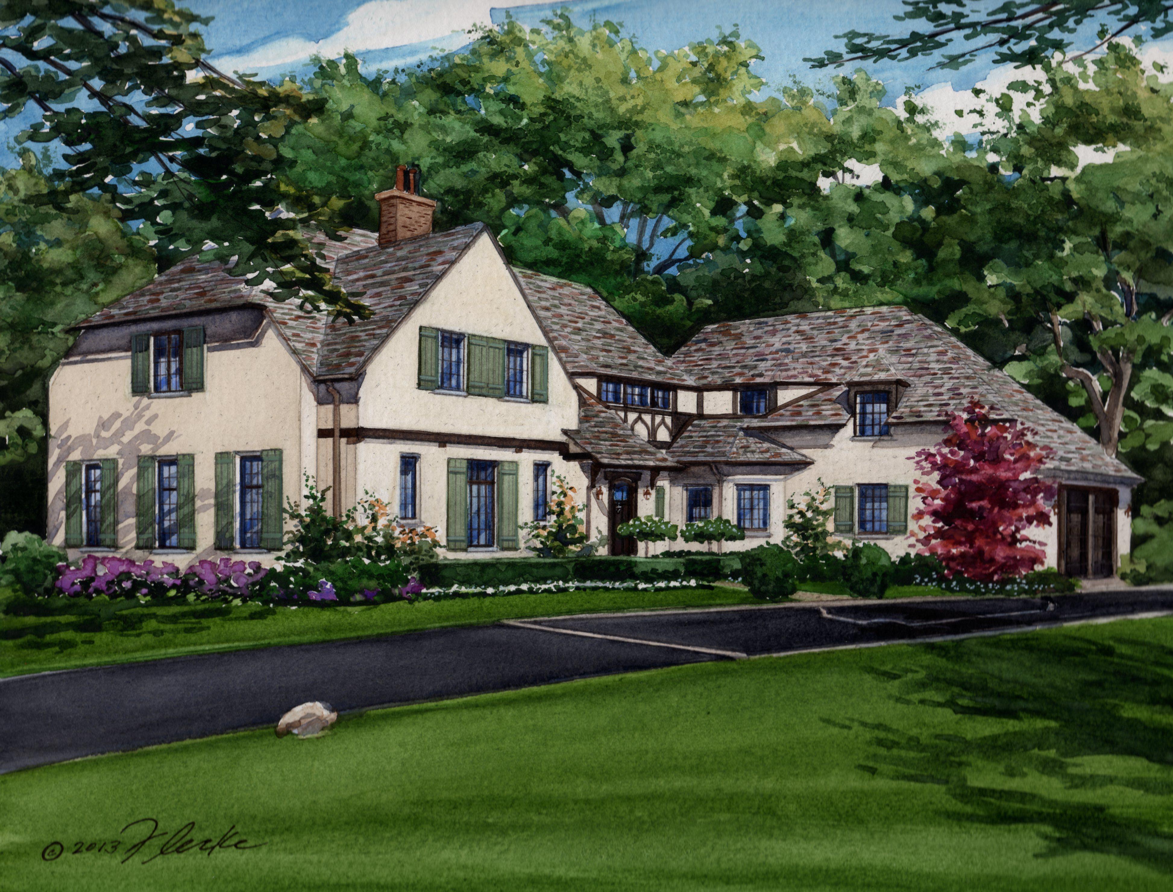 Tudor Style Home watercolor house portrait | custom house portraitsrichelle