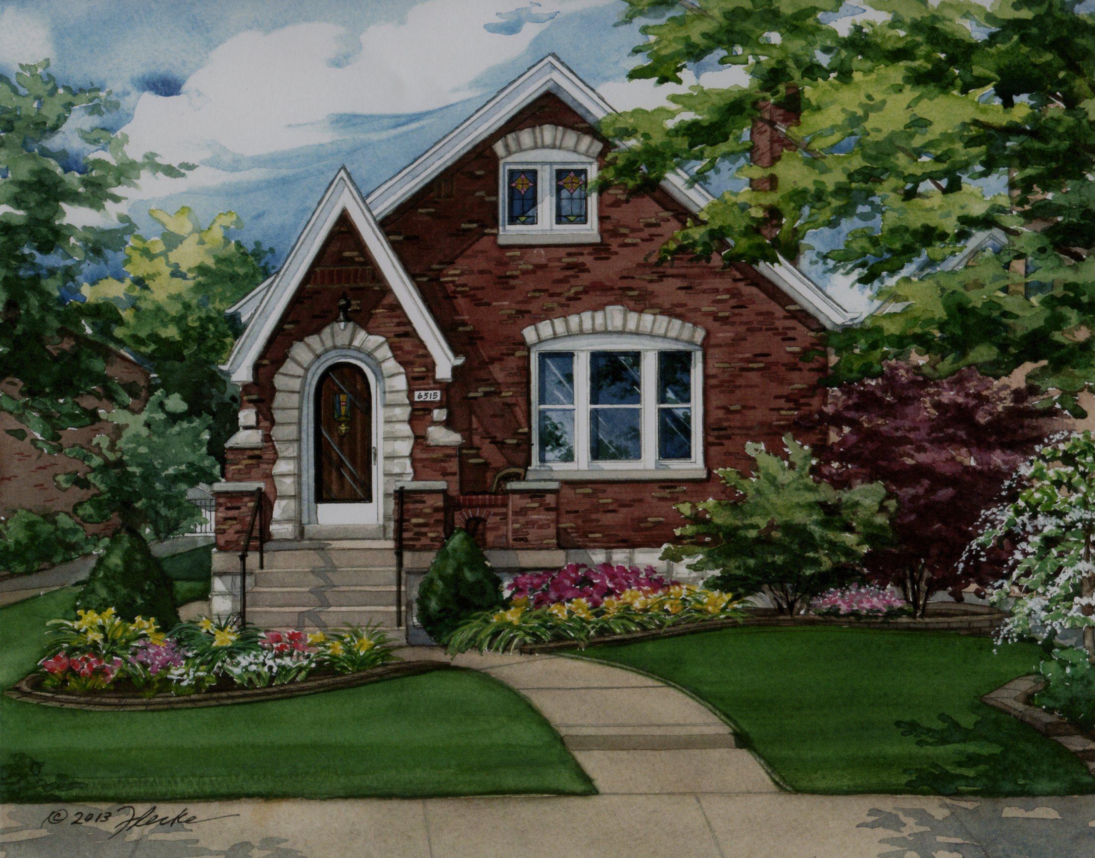 Tudor Style Home watercolor custom house portrait of brick tudor in st. louis