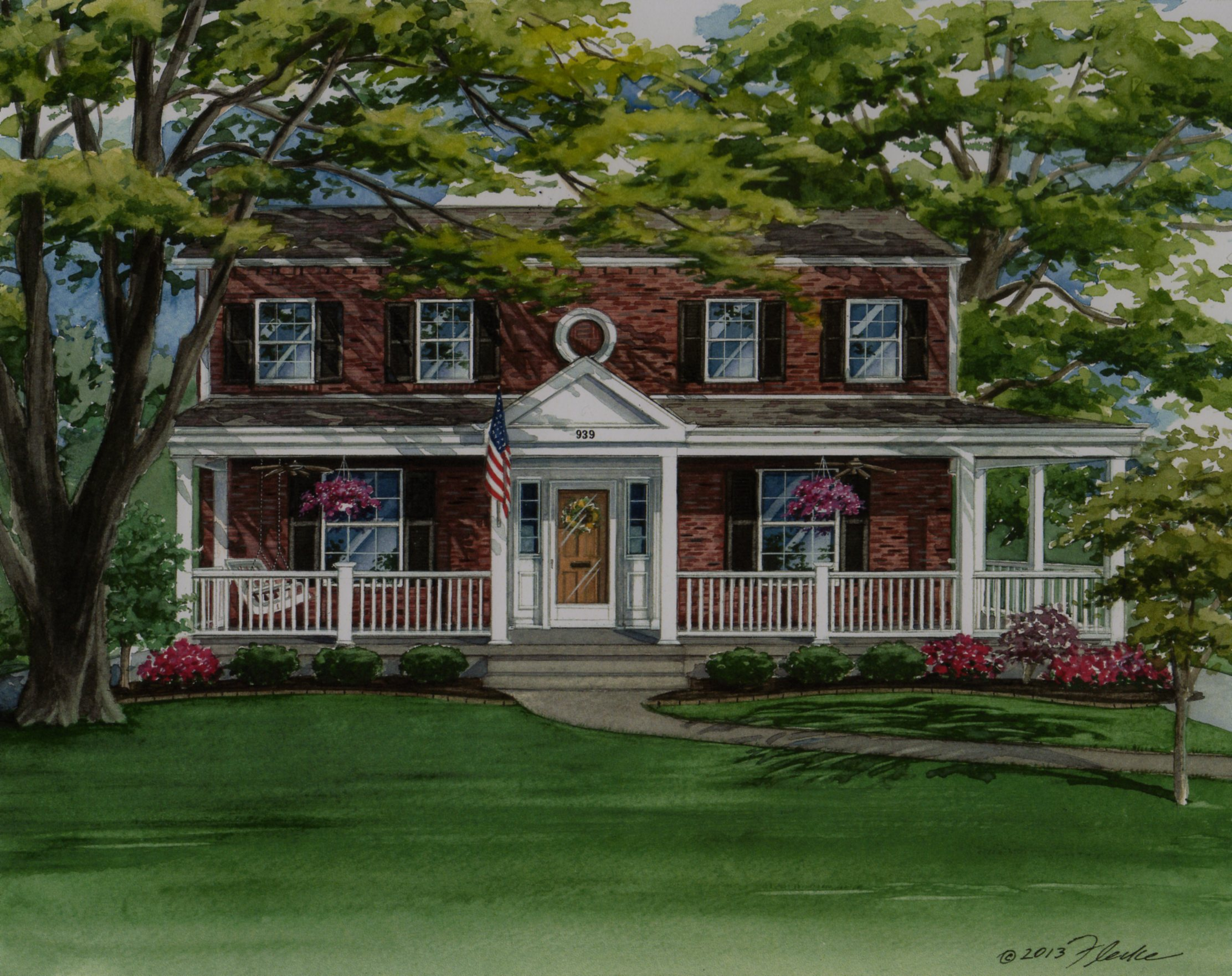 News custom house portrait of colonial style home in for Custom colonial homes