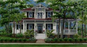 Watercolor house portrait of Beaufort, South Carolina home copyright 2014 Richelle Flecke