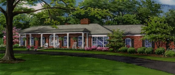 News Watercolor Of Beautiful Sprawling Brick Residence