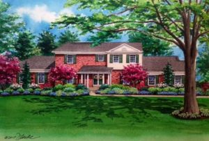 Watercolor of Oak Springs Lane home (c) 2017 Richelle Flecke