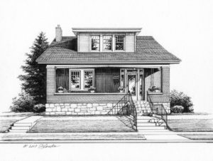 Pen and Ink of St Louis home (c) 2017 Richelle Flecke