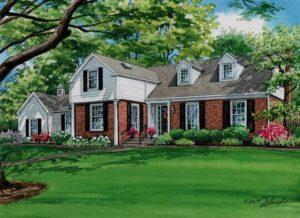 Watercolor of Ladue home (c) 2017 Richelle Flecke