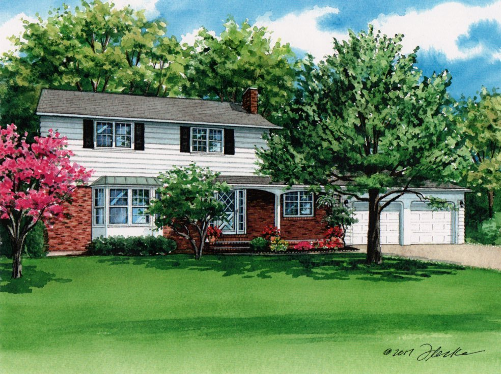 Watercolor house portrait custom house portraits by for Seneca custom homes