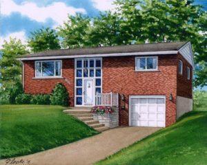 Watercolor of St. Louis Home (c) Richelle Flecke