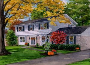 Watercolor of home in Fall (c) Richelle Flecke
