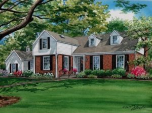Watercolor of Ladue Home (c) Richelle Flecke