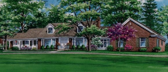 Watercolor of Pittsfield Home (c) 2018 Richelle Flecke