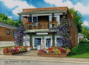 Watercolor of Dale Hardware Store (c) 2018 Richelle Flecke