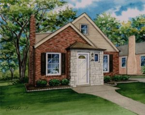 Watercolor of Brentwood Home (c) 2018 Richelle Flecke