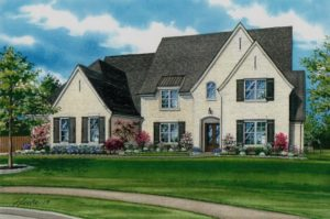 Watercolor of Collierville Home (c) 2019 Richelle Flecke