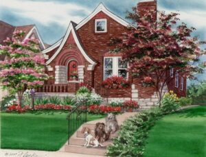 Watercolor of home with 3 dogs (c) 2007 Richelle Flecke