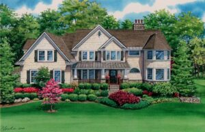 Watercolor house portrait of Somers NY residence