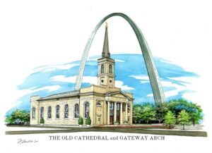 Portrait of The Old Cathedral and Gateway Arch © 2020 Flecke