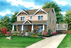 Watercolor of Kirkwood Home © 2020 Flecke