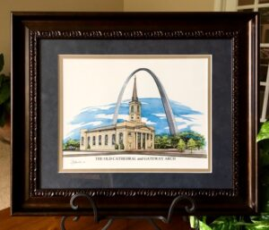 Framed print of Old Cathedral and Gateway Arch