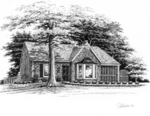 Pen and Ink of Glendale home © Flecke
