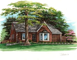 Pen and Ink with Watercolor of Glendale Home © Flecke