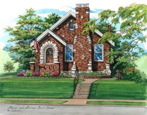 Pen and Ink with Watercolor of St. Louis Home © Flecke