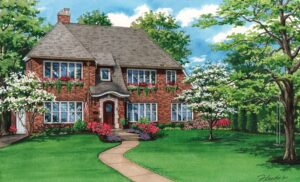 Watercolor House Portrait of Rochester NY residence © 2020 Flecke