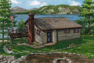 Watercolor of lake house in Ticonderoga, New York © Richelle Flecke